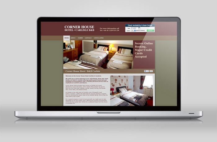 Cornerhouse Hotel Carlisle Home Page Design