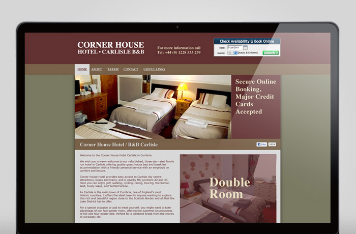 Cornerhouse Hotel Carlisle Home page hover