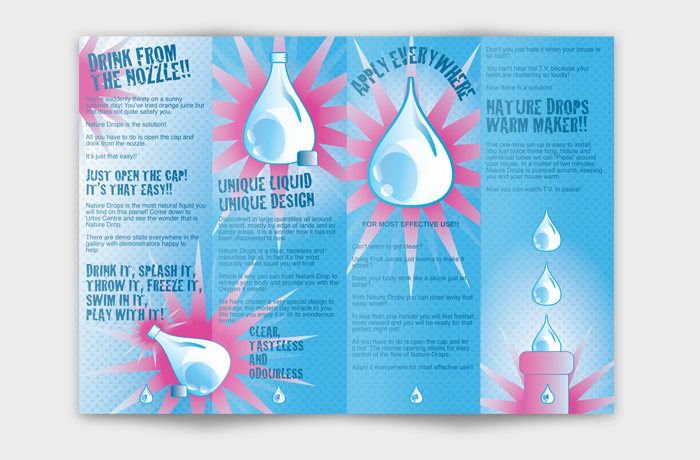 Back of the Leaflet to promote Water as if it had just been invented