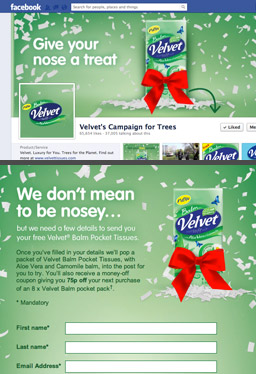 Velvet Tissues Facebook page and app