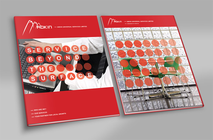 Abkin Brochure Front and back cover designs