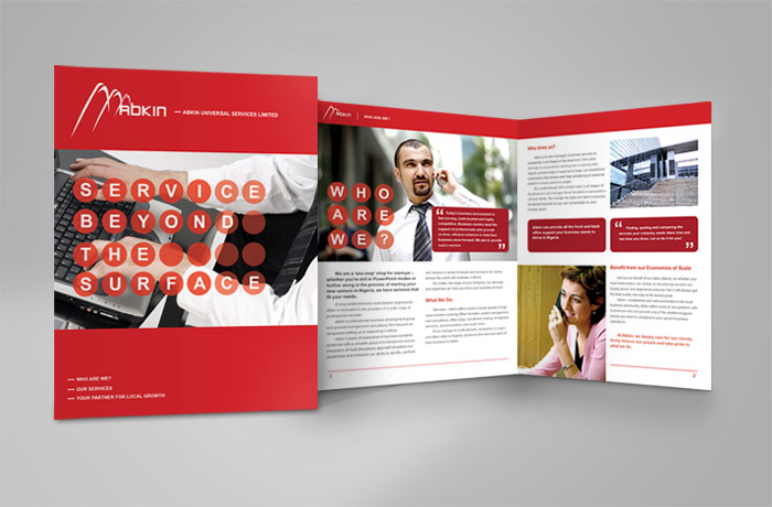 Abkin Brochure Front cover and inner pages designs