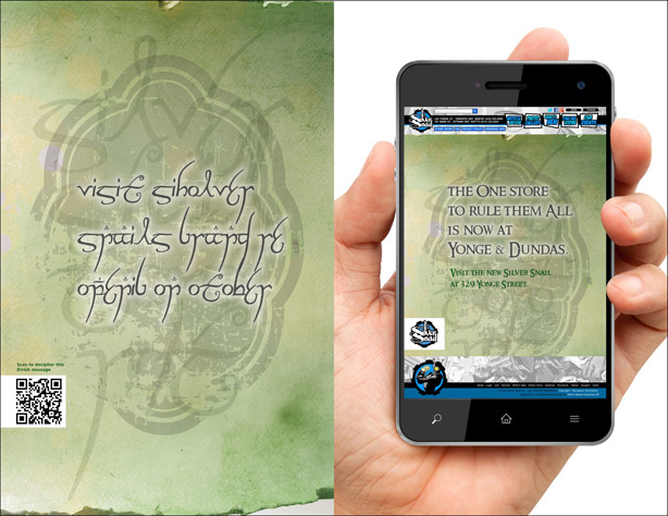 Silver Snail Comics ad in Elvish with English translation