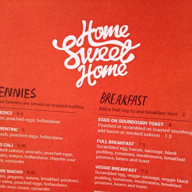 Home Sweet Home menu