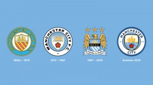 Manchester City crest designs through the ages.